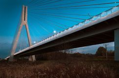 Cable-stayed bridge close-up in the evening Stock Photography
