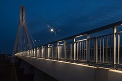 Cable-stayed bridge close-up in the evening Royalty Free Stock Photos