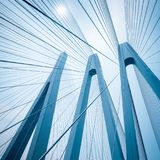 Cable-stayed bridge closeup Stock Images