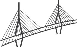 Cable-stayed bridge drawing, Millau viaduct, France stock illustration