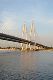 Cable stayed bridge at evening. Royalty Free Stock Photography