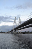 Cable stayed bridge at evening. Stock Photos