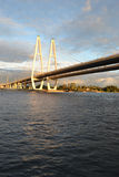 Cable stayed bridge at evening. Royalty Free Stock Images