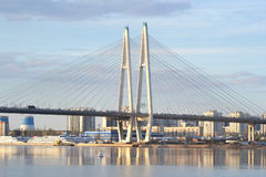 Cable stayed bridge at evening. Royalty Free Stock Image
