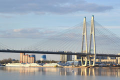 Cable stayed bridge at evening. Stock Images