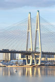 Cable stayed bridge at evening. Stock Photography