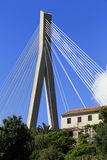 Cable stayed bridge with house Royalty Free Stock Images