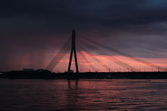 Cable-stayed bridge in Latvia. Cable-stayed bridge in Riga in Latvia Stock Photography