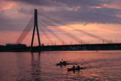 Cable-stayed bridge in Latvia. Cable-stayed bridge in Riga in Latvia Stock Photos