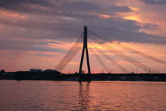Cable-stayed bridge in Latvia. Cable-stayed bridge in Riga in Latvia Royalty Free Stock Image