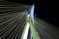 Cable-stayed bridge lit in sao paulo Brazil Stock Images