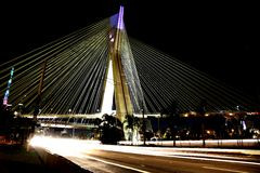 Cable-stayed bridge lit in sao paulo Brazil Royalty Free Stock Photo