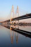 Cable stayed bridge and Neva river. Royalty Free Stock Photos