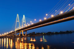 Cable stayed bridge at night Royalty Free Stock Photo