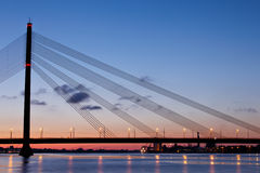 Cable-stayed bridge at night Royalty Free Stock Photo