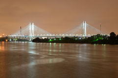 Cable stayed bridge at night. Stock Images