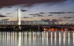 Cable stayed bridge at night. Royalty Free Stock Photos