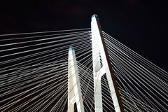 Cable stayed bridge at night. Stock Photos