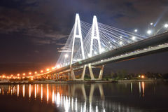 Cable stayed bridge at night. Royalty Free Stock Image