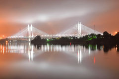 Cable stayed bridge at night. Stock Image