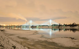 Cable stayed bridge at night. Cable-stayed bridge with illumination across the Neva River in St.Petersburg, Russia stock photos