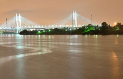 Cable stayed bridge at night. Stock Photo