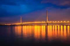 Cable-stayed bridge at night Stock Photo