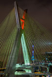 Cable stayed bridge at night Stock Images