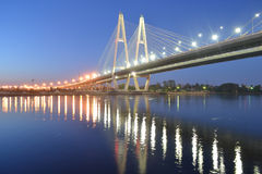 Cable-stayed bridge at night, St.Petersburg. Cable-stayed bridge and Neva River at night, St.Petersburg, Russia Royalty Free Stock Photo