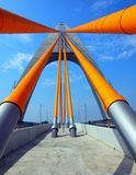 Cable Stayed Bridge with Orange Royalty Free Stock Images