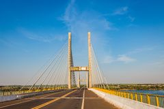Cable-stayed bridge over Parana river, Brazil. Border of Sao Paulo and Mato Grosso do Sul states royalty free stock photography
