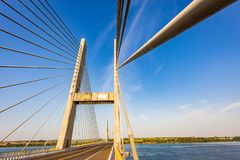 Cable-stayed bridge over Parana river, Brazil. Border of Sao Paulo and Mato Grosso do Sul states stock photography
