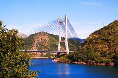 Cable-stayed bridge over reservoir Royalty Free Stock Image