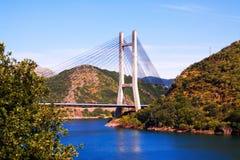 Cable-stayed bridge over reservoir. Of Barrios de Luna.  Leon, Spain Royalty Free Stock Image