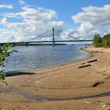 Cable-stayed bridge. Royalty Free Stock Photos
