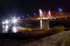 Cable stayed bridge over Vistula rive Stock Photography