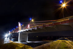 Cable stayed bridge over Vistula rive Stock Photography
