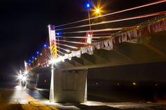 Cable stayed bridge over Vistula rive Stock Photos