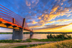 Cable stayed bridge over Vistula river Royalty Free Stock Images
