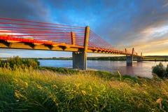 Cable stayed bridge over Vistula river Stock Image