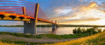 Cable stayed bridge over Vistula river Stock Photos