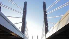 Cable-stayed bridge perspective sunset architecture engineering urban
