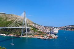 Cable-stayed bridge in the port Royalty Free Stock Image