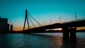 Cable-stayed bridge. In Riga evening Royalty Free Stock Image