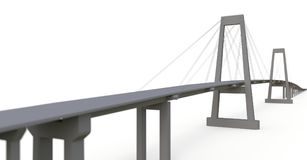 Cable-stayed bridge with a road overpass. 3d rendering. Cable-stayed bridge with a road overpass. 3d rendering vector illustration