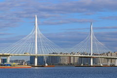 Cable-stayed bridge in Saint Petersburg Stock Photography