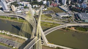 Cable-stayed. Bridge in Sao Paulo, Brazil Royalty Free Stock Images