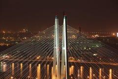 Cable-stayed bridge shrouds Similar to cobwebs. Big Obukhov bridge over the river Neva in St. Petersburg stock image