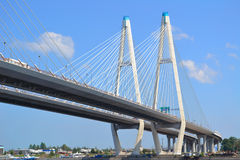 Cable-stayed bridge in St. Petersburg Royalty Free Stock Photography