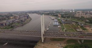 Cable-stayed bridge in St. Petersburg, Russia over the Neva River stock video